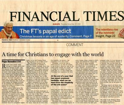 ++ PAPA: OGGI SUO ARTICOLO SUL FINANCIAL TIMES ++